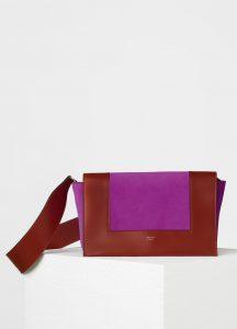 Celine Burnt Red/Magenta Supersoft Calfskin/Suede Medium Frame Shoulder Bag