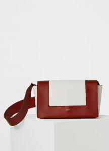 Celine Burnt Red/White Smooth Calfskin Medium Frame Shoulder Bag