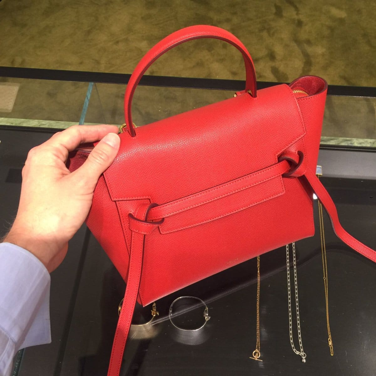 113a32558c Celine Coquelicot Grained Calfskin Micro Belt Bag 3