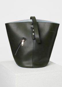 Celine Dark Green/Mineral Bucket Biker Shoulder Bag