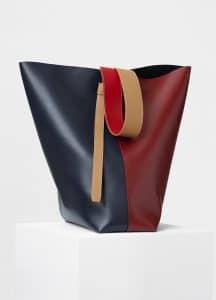 Celine Dark Ruby/Navy Shiny Smooth Calfskin Oversized Twisted Cabas Bag