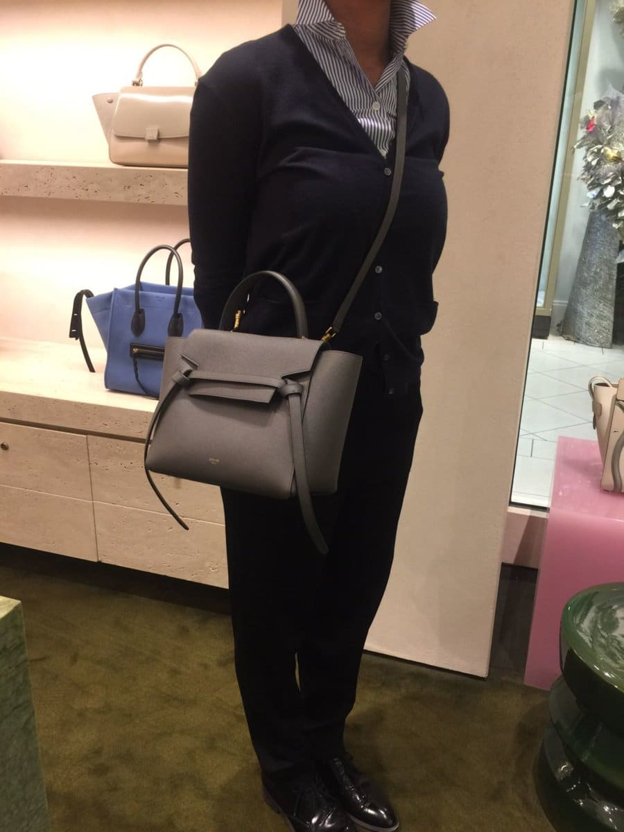 Celine Mini Belt Bag In Grained Calfskin Iucn Water