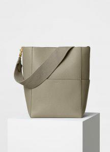 Celine Khaki Soft Grained Calfskin Sangle Shoulder Bag