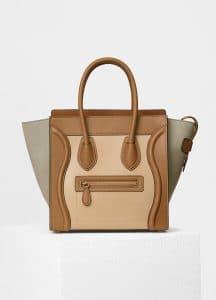 Celine Light Khaki Multicolor Baby Grained Calfskin/Nubuck Micro Luggage Bag