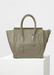 Celine Light Khaki Satin Calfskin Micro Debossed Luggage Bag