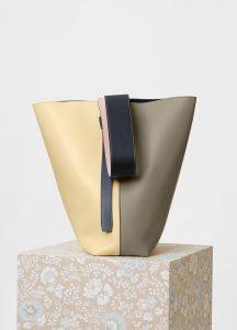 Celine Light Khaki/Cream Smooth Calfskin Small Twisted Cabas Bag
