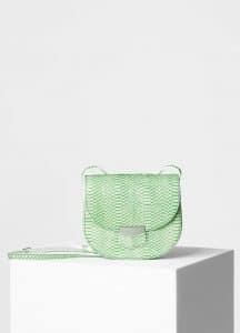 Celine Lime Bicolour Watersnake Small Trotteur Shoulder Bag