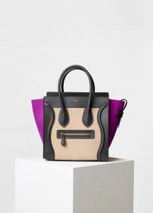 Celine Magenta Multicolor Baby Grained Calfskin/Nubuck Nano Luggage Bag