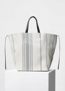 Celine Navy Blue Faded Stripes Fabric Large Cabas Phantom Bag