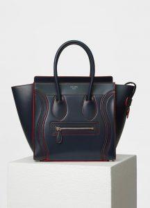 Celine Navy Blue Satin Calfskin Micro Debossed Luggage Bag