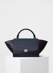Celine Navy with Red Piping Smooth Calfskin Small Trapeze Bag