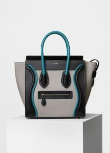 Celine Turquoise Multicolor Smooth Calfskin Micro Luggage Bag