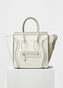 Celine White Satin Calfskin Micro Debossed Luggage Bag