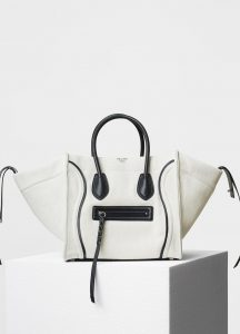 Celine White Textile with Calfskin Border Medium Luggage Phantom Bag