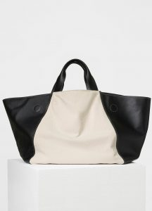 Celine White/Black Smooth Calfskin/Textile Canvas Tote Bag