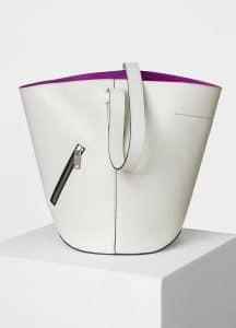 Celine White/Magenta Bucket Biker Shoulder Bag