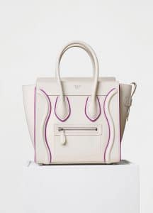 Celine White/Magenta Smooth Calfskin Micro Luggage Bag