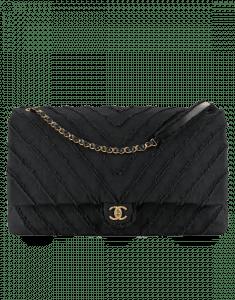 Chanel Black Canvas Patchwork Chevron Flap Bag