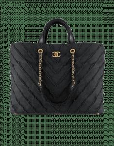 Chanel Black Canvas Patchwork Chevron Large Shopping Bag