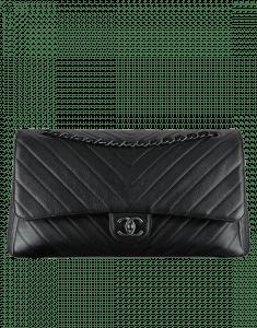 Chanel Black Chevron Flap Bag