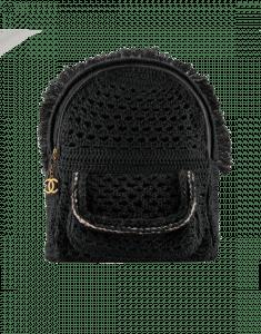 Chanel Black Crochet Cayo Coco Backpack Bag