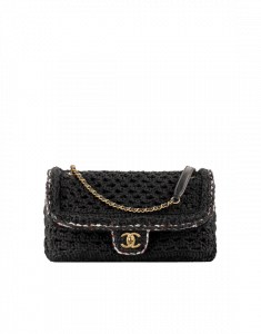 Chanel Black Crochet Cayo Coco Flap Bag