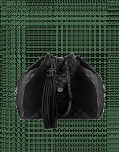 Chanel Black Goatskin/Suede Large Drawstring Bag