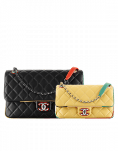 Chanel Black Jumbo / Yellow Small Lambskin/Resin Flap Bag