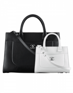 Chanel Black Medium and White Mini Neo Executive Shopping Bags
