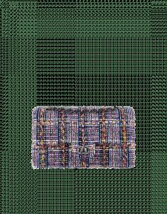 Chanel Black/Blue/Yellow Tweed Medium Classic Flap Bag