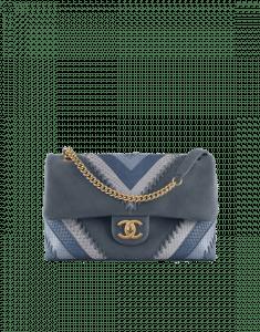 Chanel Blue Iridescent Calfskin/Python Patchwork Chevron Jumbo Flap Bag