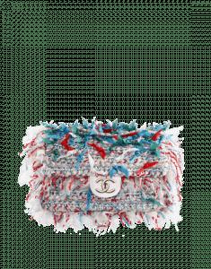 Chanel Blue/White Woven Calfskin Rumbag Flap Bag