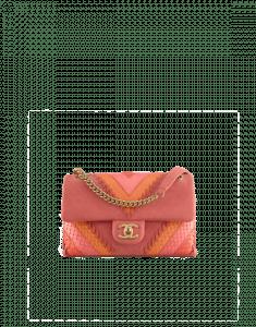Chanel Coral Iridescent Calfskin/Python Patchwork Chevron Small Flap Bag