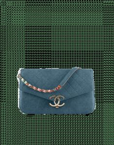 Chanel Dark Blue Grained Calfskin Flap Bag