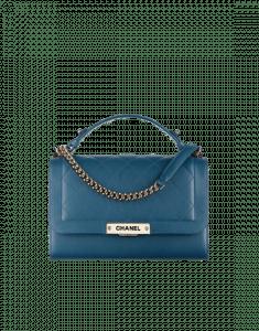 Chanel Dark Blue Label Click Medium Flap Bag
