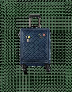 Chanel Dark Blue Washed Denim with Charms Coco Case Trolley Bag