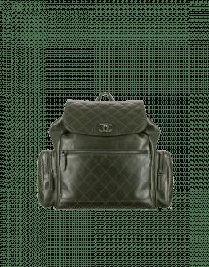 Chanel Dark Green Calfskin Backpack Pocket Bag