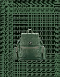 Chanel Dark Green Crumpled Calfskin Medium Backpack Pocket Bag