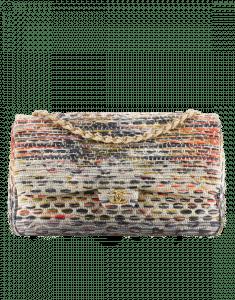 Chanel Ecru/Orange/Lilac Tweed Flap Bag