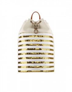 Chanel Gold/White Canvas and Sequins Cubano Trip Backpack Bag