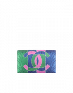 Chanel Green/Blue/Pink Python Clutch Bag