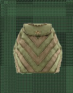 Chanel Khaki Canvas Patchwork Chevron Backpack Bag