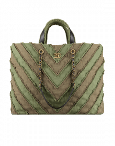 Chanel Khaki Canvas Patchwork Chevron Large Shopping Bag