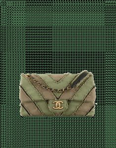 Chanel Khaki Canvas Patchwork Chevron Medium Flap Bag
