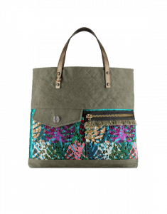 Chanel Khaki Canvas/Lace/Resin Large Shopping Bag