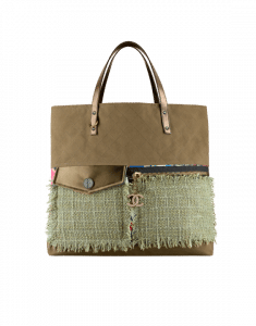 Chanel Khaki Canvas/Printed Fabric Large Shopping Bag