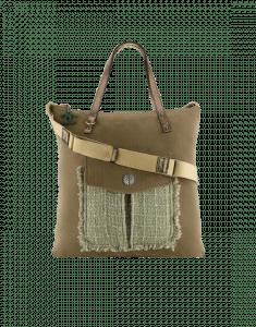 Chanel Khaki Canvas/Tweed/Resin Large Shopping Bag