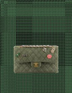 Chanel Khaki Classics in Fabrics Medium Flap Bag
