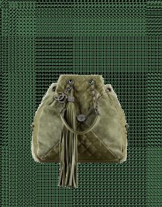 Chanel Khaki Goatskin/Suede Drawstring Bag
