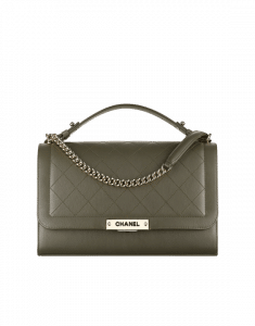 Chanel Khaki Label Click Large Flap Bag